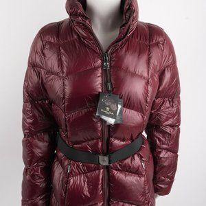 Massimo Dutti Womens Down Jacket Coat Belt Maroon